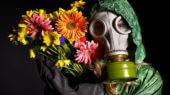8941891 - young woman  in gas mask .toxic environment